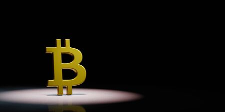 Golden Bitcoin Symbol Shape Spotlighted on Black Background with Copy Space 3D Illustration