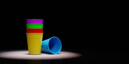 Pile of Colorful Plastic Cups Spotlighted on Black Background with Copy Space 3D Illustration