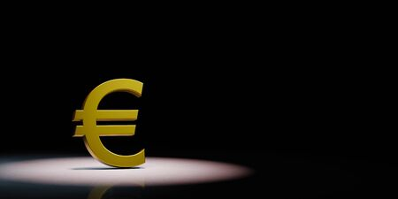 Golden Euro Currency Symbol Shape Spotlighted on Black Background with Copy Space 3D Illustration