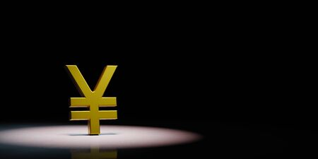 Golden Yuan or Yen Currency Symbol Shape Spotlighted on Black Background with Copy Space 3D Illustration