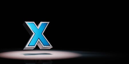 """Blue Metallic """"X"""" Text Spotlighted on Black Background with Copy Space 3D Illustration 스톡 콘텐츠"""