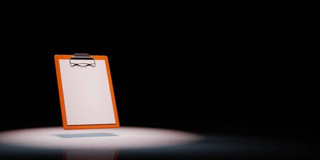 Orange Clipboard with Blank Paper Spotlighted on Black Background with Copy Space 3D Illustration