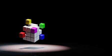 Combining Multicolor Cubes Spotlighted on Black Background with Copy Space 3D Illustration
