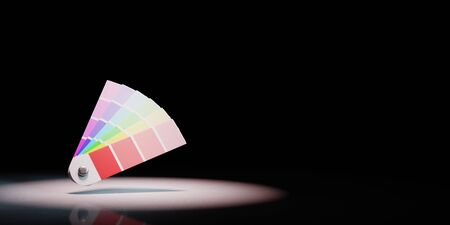 Pantone Colors Sampler Spotlighted on Black Background with Copy Space 3D Illustration Stockfoto