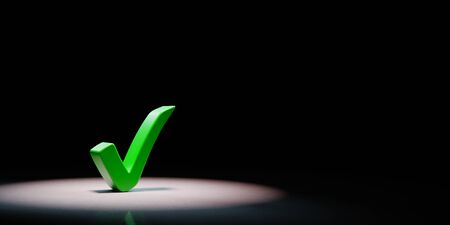 Green Tick Mark Spotlighted on Black Background with Copy Space 3D Illustration
