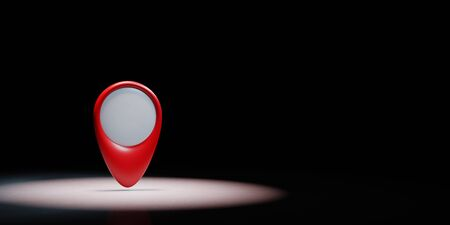 Red Map Pointer Spotlighted on Black Background with Copy Space 3D Illustration 스톡 콘텐츠