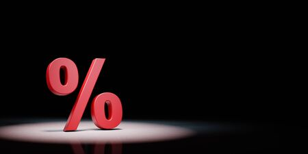 Red Percent Sign Symbol Shape Spotlighted on Black Background with Copy Space 3D Illustration