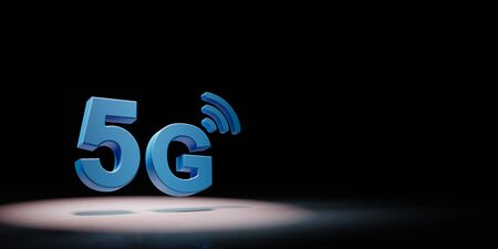 Blue 5G 3D Text Symbol Shape Spotlighted on Black Background with Copy Space 3D Illustration