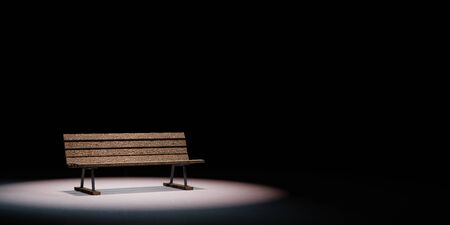 One Single Wooden Bench Spotlighted on Black Background with Copy Space 3D Illustration