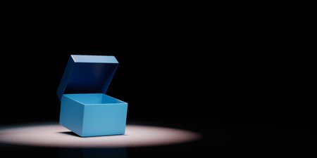 Simple Open Blue Box with Cover Spotlighted on Black Background with Copy Space 3D Illustration