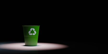 One Green Plastic Bin with Recycle Sign Spotlighted on Black Background with Copy Space 3D Illustration