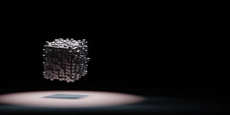 Metallic Cubes Aggregation Spotlighted on Black Background with Copy Space 3D Illustration