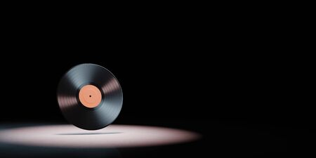 Vinyl Record Spotlighted on Black Background with Copy Space 3D Illustration