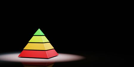 Four Levels Pyramid Structure Red to Green Color Spotlighted on Black Background with Copy Space 3D Illustration