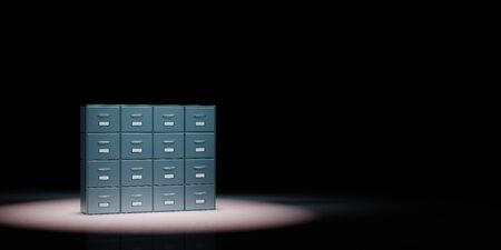 Metallic Archive Rack Spotlighted on Black Background with Copy Space 3D Illustration 스톡 콘텐츠