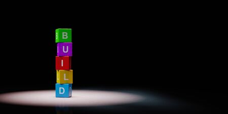 Cubes Build Text Concept Spotlighted on Black Background 스톡 콘텐츠