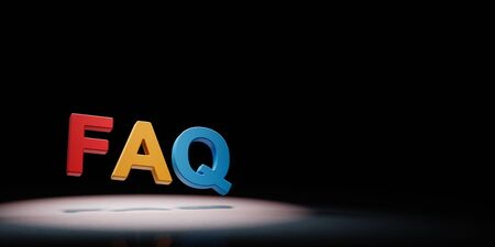FAQ Colorful Text Spotlighted on Black Background