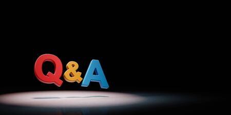 Question and Answer Concept Spotlighted on Black Background