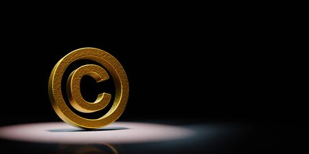 Golden Copyright Symbol Shape Spotlighted on Black Background with Copy Space 3D Illustration