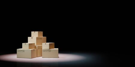 Heaps of Closed Cardboard Boxes Spotlighted on Black Background 3D Illustration