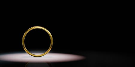 One Single Golden Ring Frame Spotlighted on Black Background with Copy Space 3D Illustration 스톡 콘텐츠