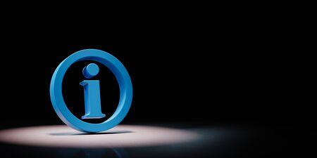 Blue Information Symbol Shape Spotlighted on Black Background with Copy Space 3D Illustration