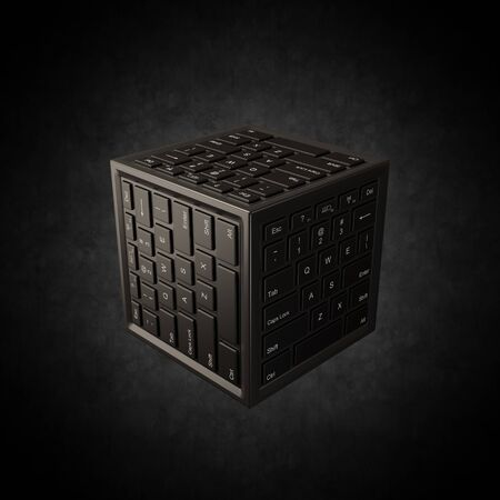 Cube Shape with Computer Keyboard on Faces Spotlighted on Black Background 3D Illustration