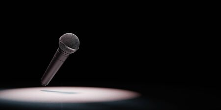 Metallic Microphone Spotlighted on Black Background with Copy Space 3D Illustration 스톡 콘텐츠