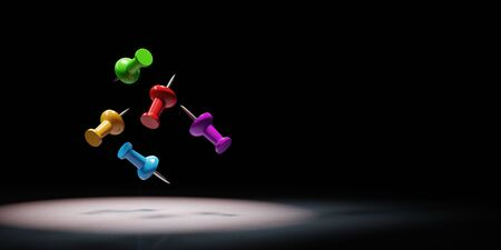 Colorful Thumbtack Spotlighted on Black Background with Copy Space 3D Illustration 스톡 콘텐츠