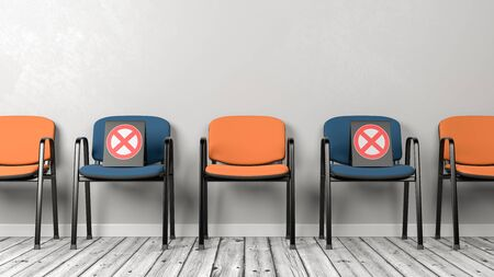 Alternate Color Chairs in a Row, Social Distancing Concept