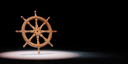 Wooden Rudder Wheel Spotlighted on Black Background with Copy Space 3D Illustration