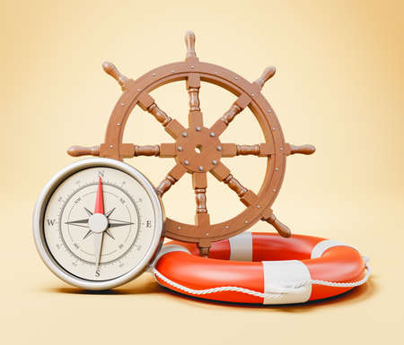 Navigation Equipment. Wooden Ship Rudder Wheel, Lifebelt and Compass on Yellow Background 3D Illustration, Travel Concept