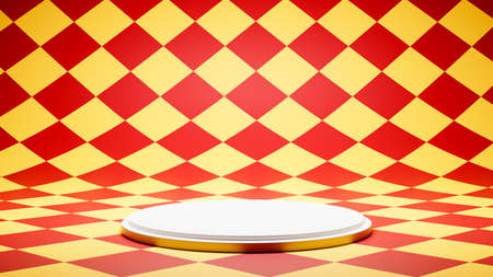 Empty White Platform on Colorful Checkered Pattern Studio Background