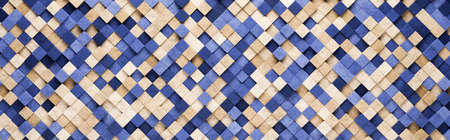 Small Blue and Orange Squares 3D Pattern Background Standard-Bild