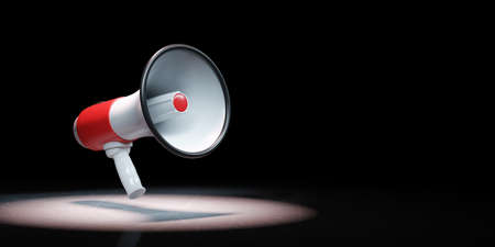 Red and White Bullhorn Spotlighted on Black Background with Copy Space 3D Illustration Standard-Bild