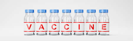 Series of Vaccine Bottles on White Background