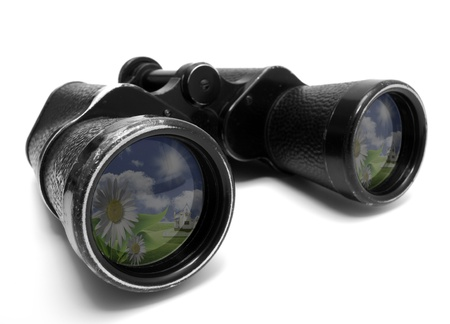 binocular: Photo of old binoculars, isolated on a white background Stock Photo