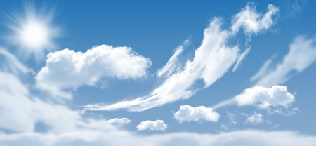 Photo of clouds and sun in the background of a beautiful blue sky Stock Photo