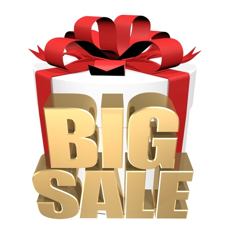 3D image of the text of a big sale, made of pure, beautiful gold photo