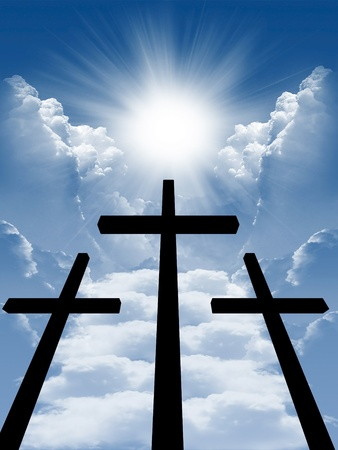 cross on a wooden brown background