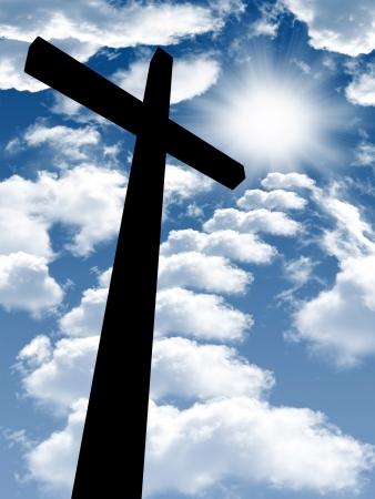 cross light: cross on a wooden brown background