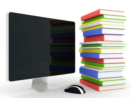 secondary education: Image of computer technology on a white background isolated Stock Photo