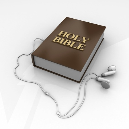 headphone: Photo holy bible and cross on a wooden brown background
