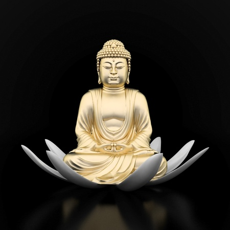 image of a gold statue of Buddha and a lotus flower photo