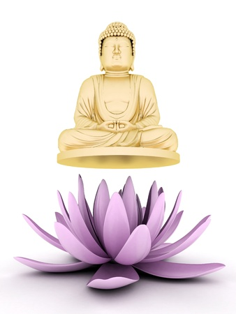 buddha image: image of a gold statue of Buddha and a lotus flower Stock Photo