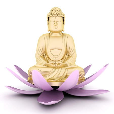 image of a gold statue of Buddha and a lotus flower Stock Photo