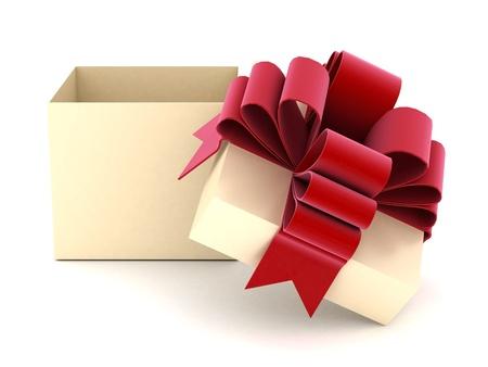 cajas navide�as: hermoso regalo con una tapa sobre un fondo blanco