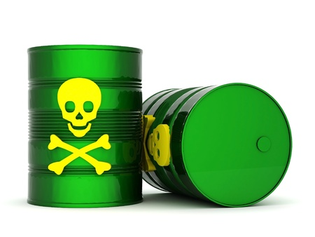 waste products: iron barrel with toxic waste on a white background