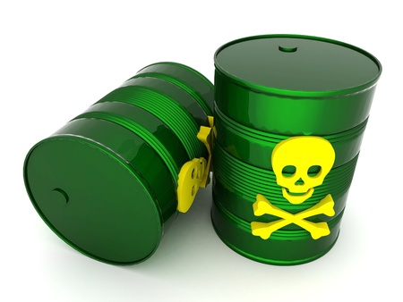 waste 3d: iron barrel with toxic waste on a white background