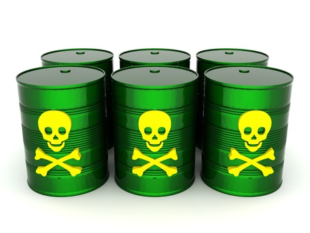 iron barrel with toxic waste on a white background